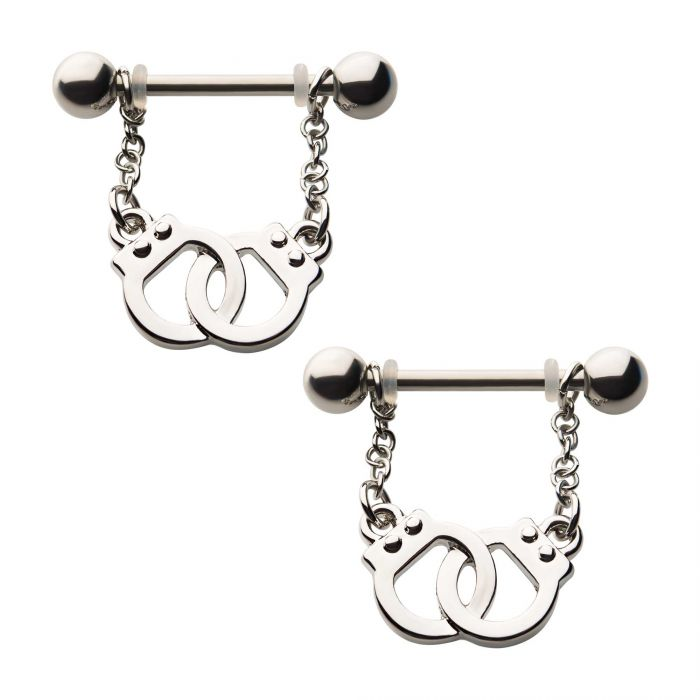 Handcuff and Chain Dangle Nipple Barbell Set - Bloody Wolf Tattoo Supply