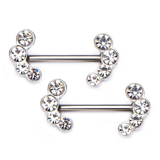 Curved 4-Gem Bars Nipple Barbells - Bloody Wolf Tattoo Supply