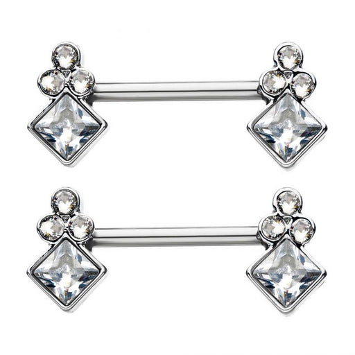Diamond Shape Nipple Barbells - Bloody Wolf Tattoo Supply