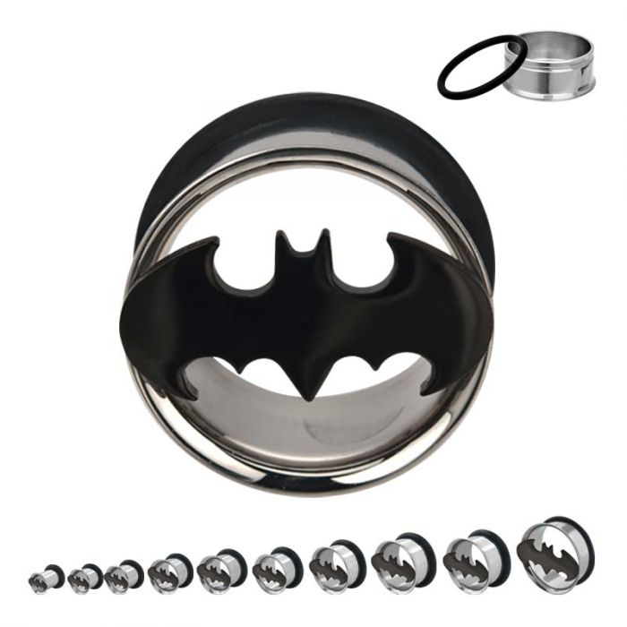 "DC Comics Batman Cutout Single Flare Plugs 3/4"" - Bloody Wolf Tattoo Supply"