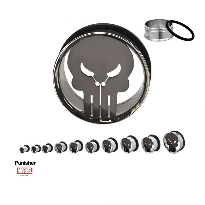 Marvel Punisher Logo Steel Single Flare Plugs - Bloody Wolf Tattoo Supply