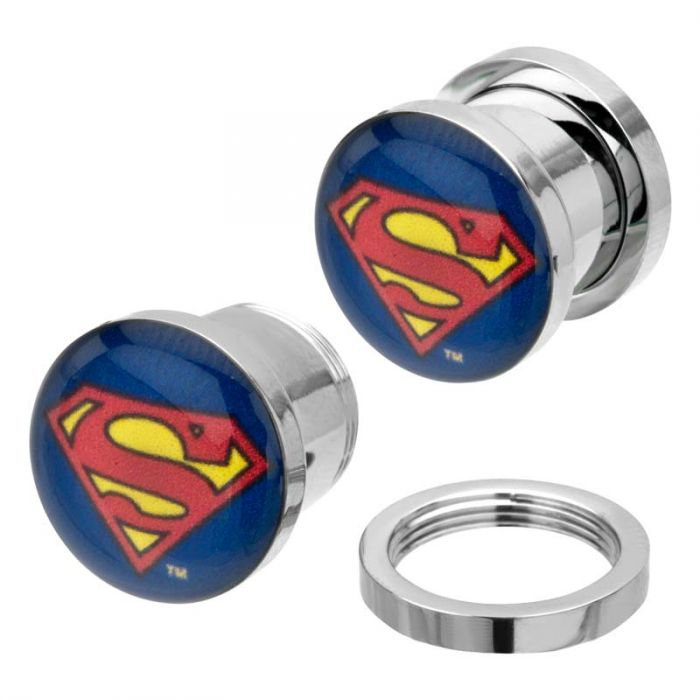 DC Comics Multi Color Superman Logo Screw Fit Plug - Bloody Wolf Tattoo Supply