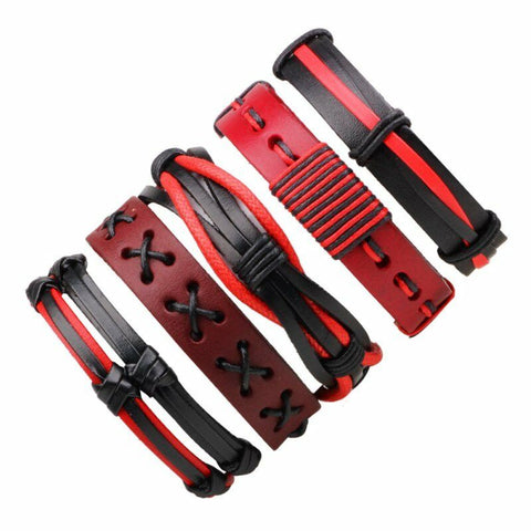 Copy of Leather Wrap Bracelet - Red and Black