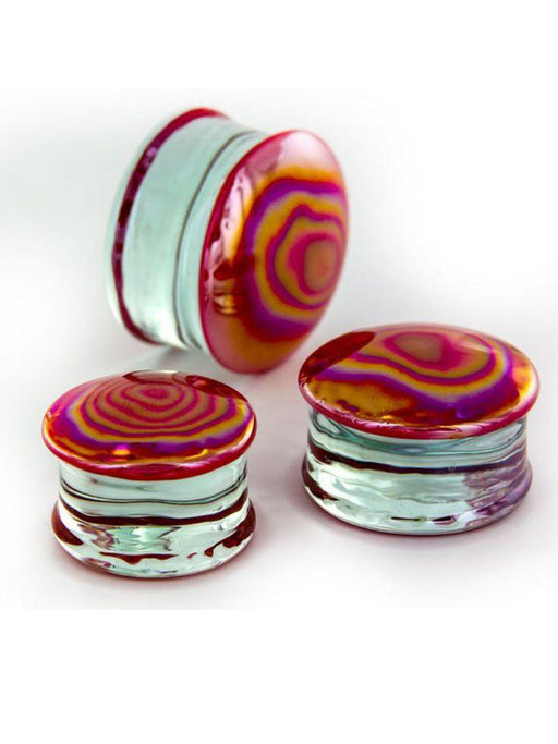 Glass Plugs - Red Fire - Bloody Wolf Tattoo Supply