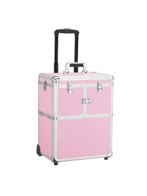 Rolling Travel Case - Pink Compact - Bloody Wolf Tattoo Supply
