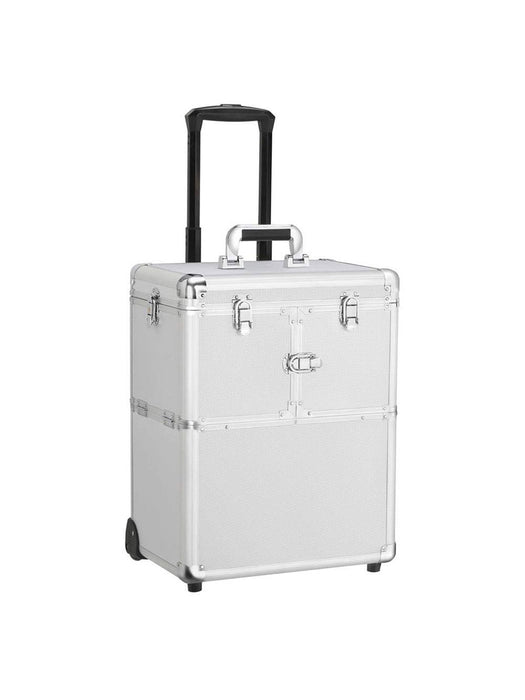 Rolling Travel Case - Silver Compact - Bloody Wolf Tattoo Supply