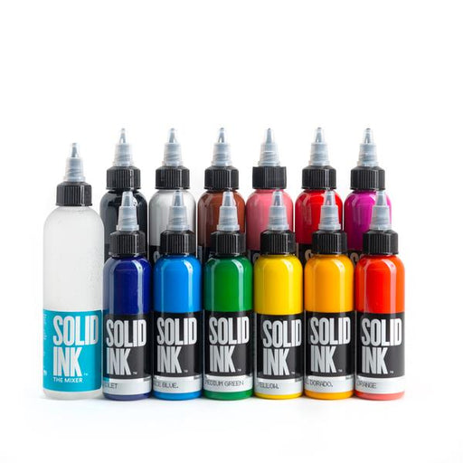 Solid Ink 12 Color Set - Bloody Wolf Tattoo Supply