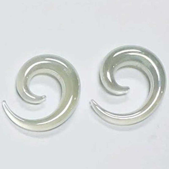 White Spiral Glass Plugs