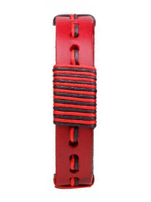 Leather Wrap Bracelet - Red and Black