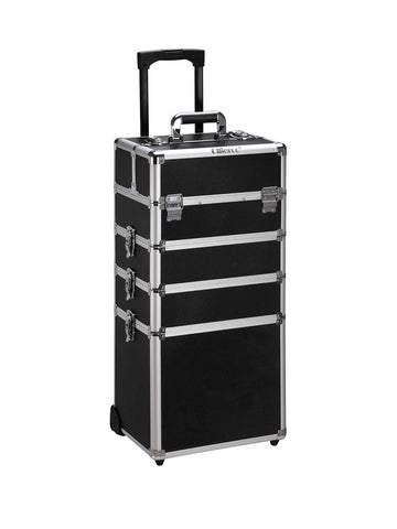 Rolling Travel Case - Black & Aluminum