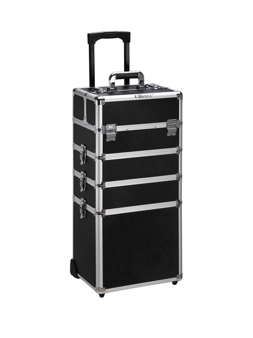 Rolling Travel Case - Black & Aluminum - Bloody Wolf Tattoo Supply