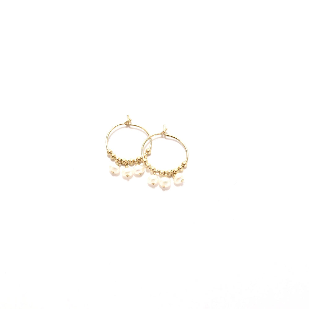 Multi Pearl Small Hoop Earrings