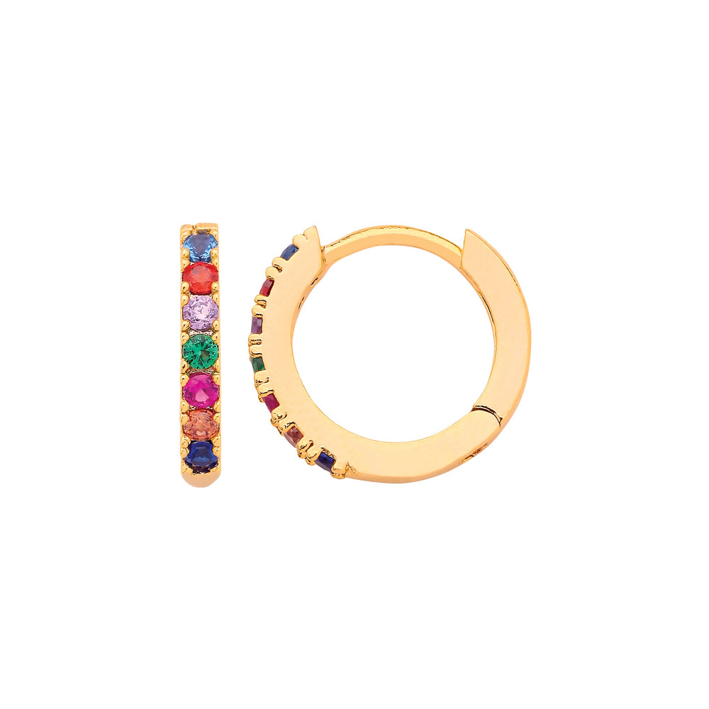 Ruby Red Pave Hoop Gold Plated Earrings