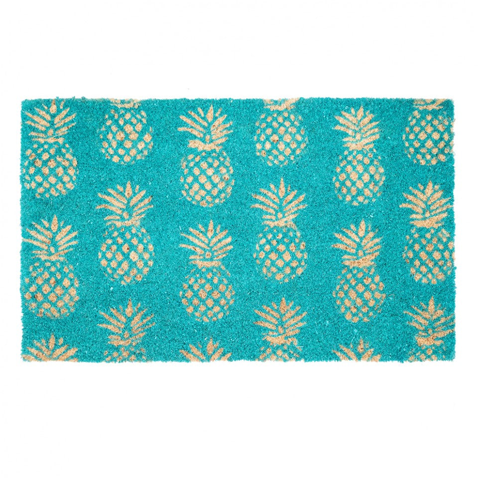 Pineapples Door Mat - Aqua