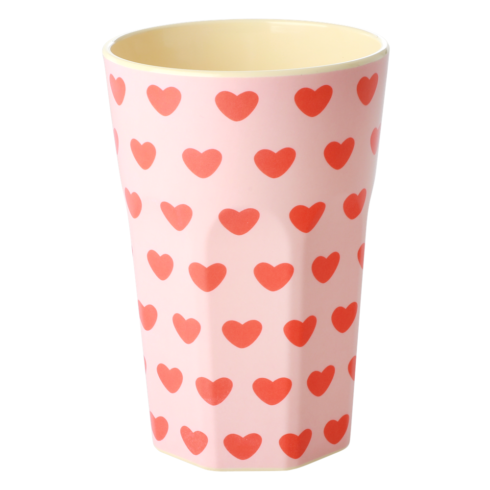 Tall Melamine Cup with Sweet Hearts Print