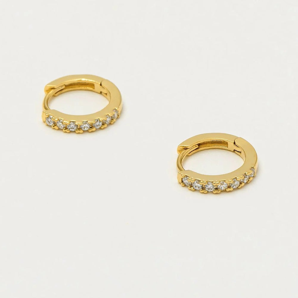 Gold Hoop Cubic Zirconia Earrings