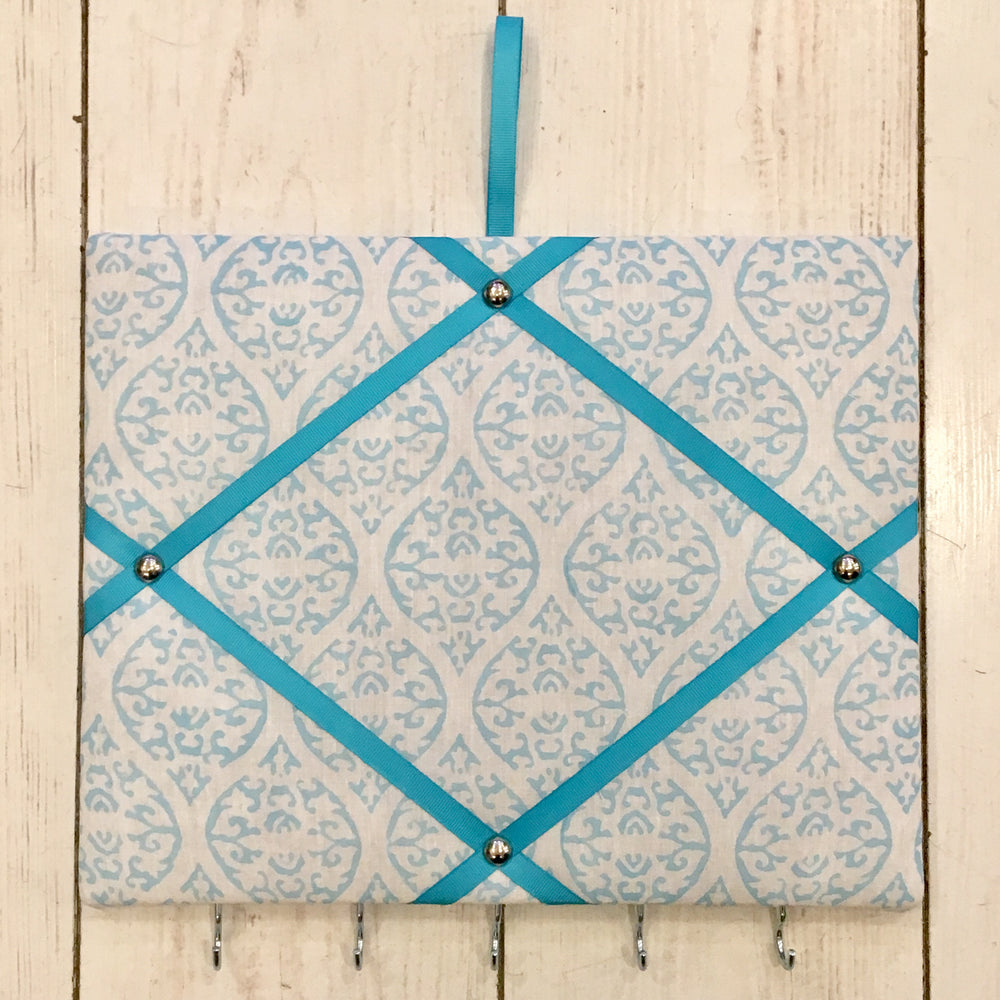 Aqua Blue Block Print Pin Board with Blue Ribbon and Hooks