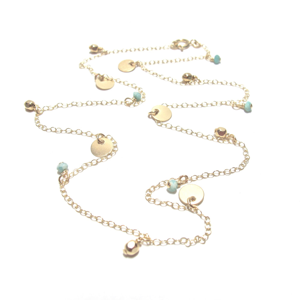 Amazonite Dics, gold Beads Necklace