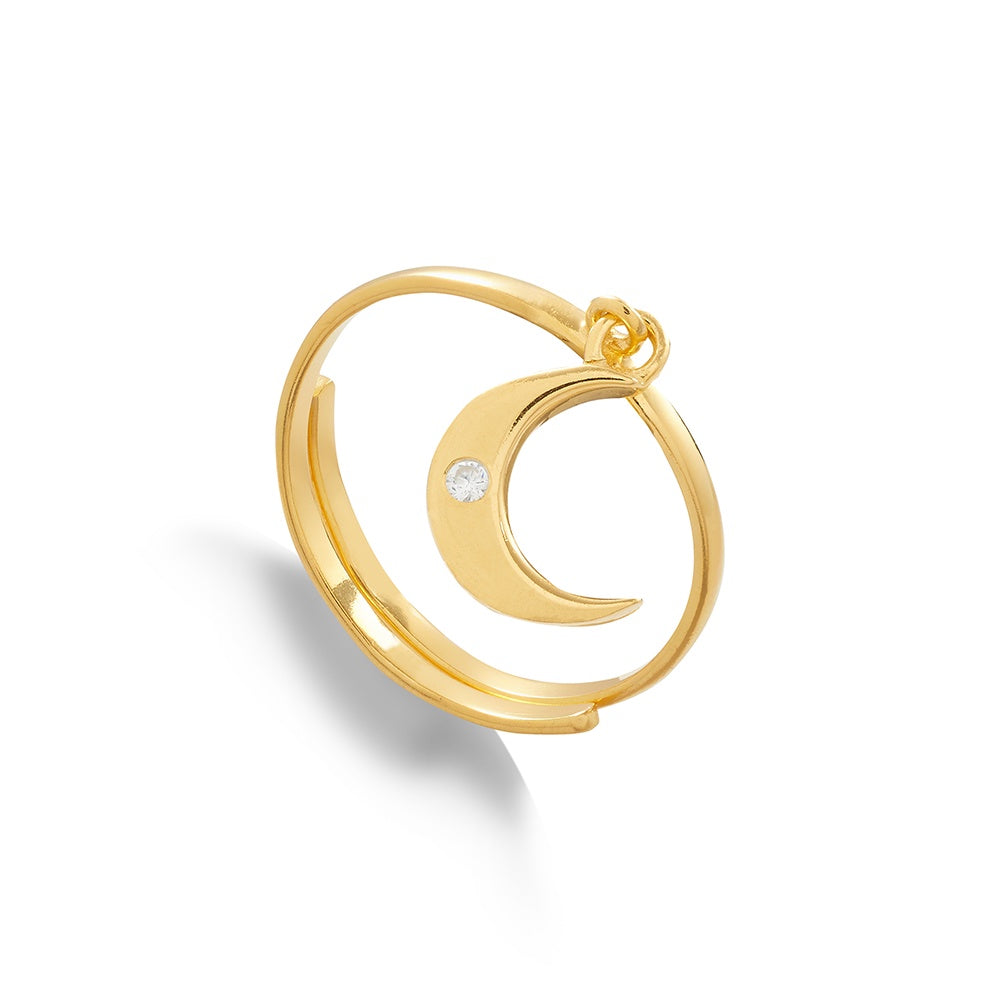 Supersonic Moon Clear Crystal Gold Ring