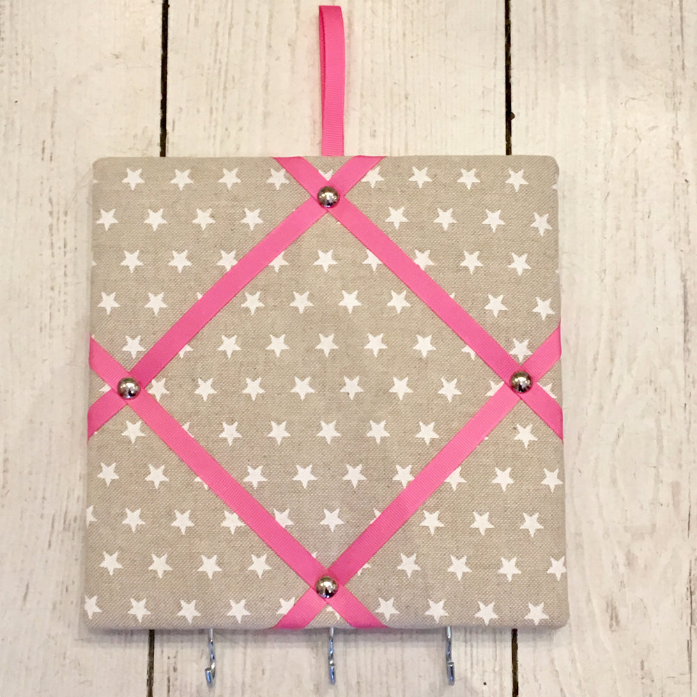 Mini White Star Pin Boards with Pink Ribbon and Hooks