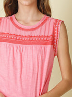 Pink & Red Top with Lace Detail