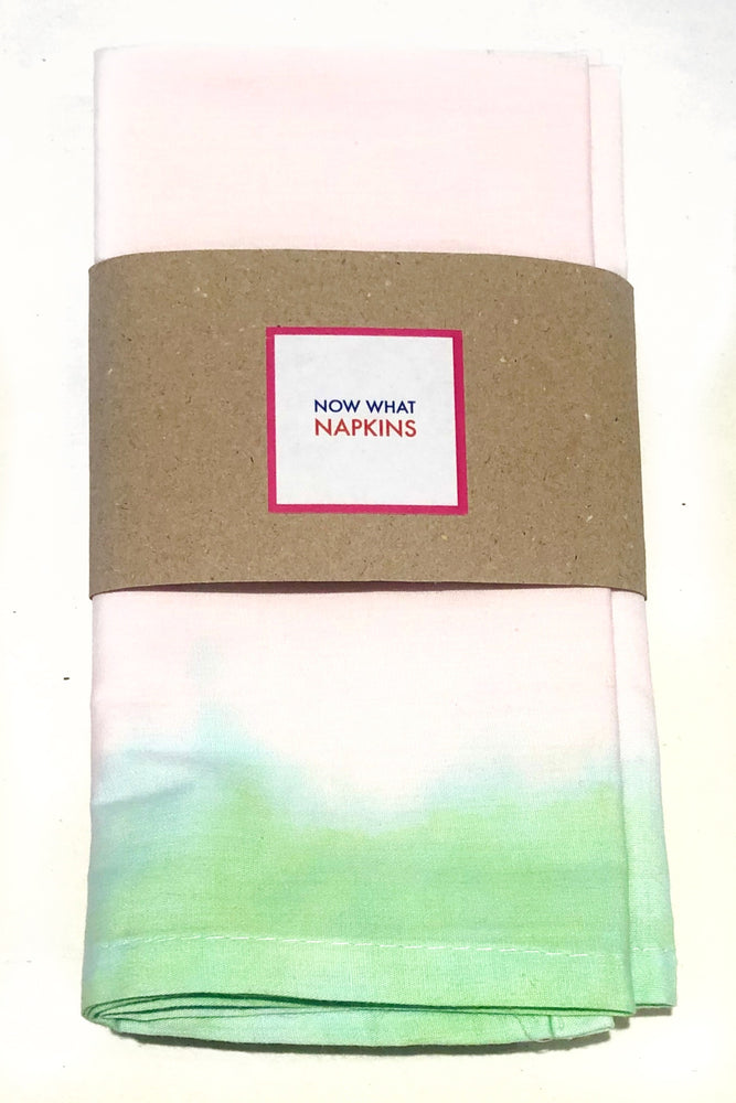 Set of Four Napkins - Green Dip Dye