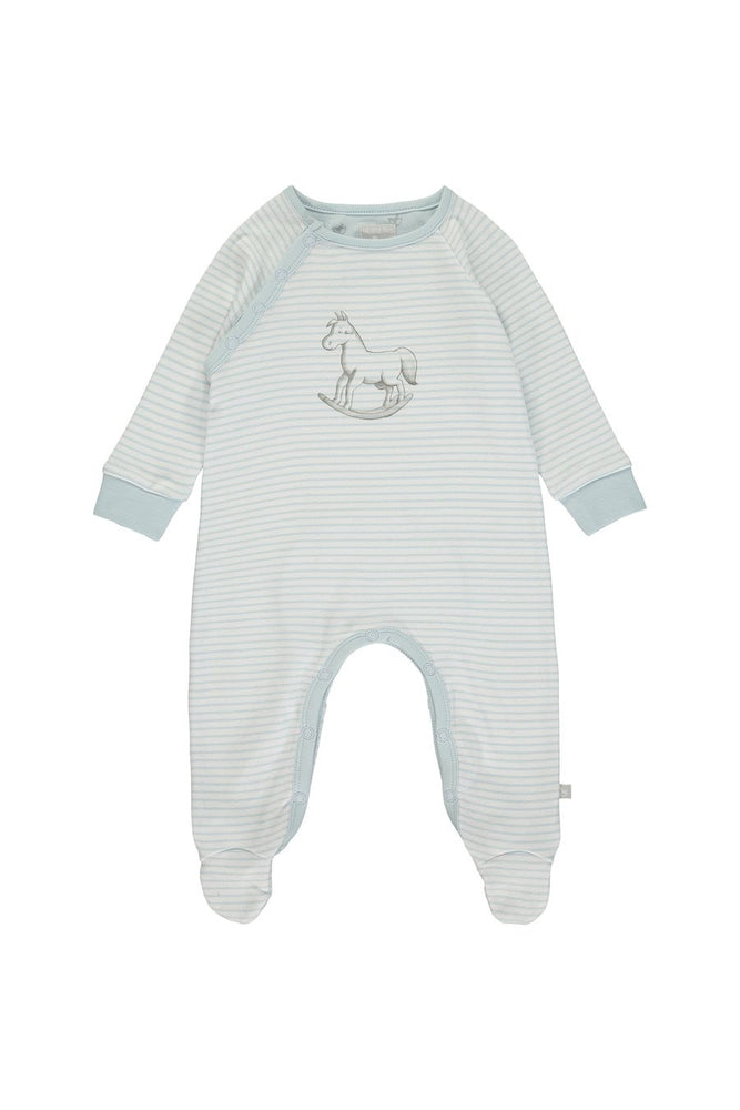 Super Soft Jersey Stripe Sleepsuit- Blue