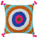Scatter Cushions Crochet Multi on Turquoise