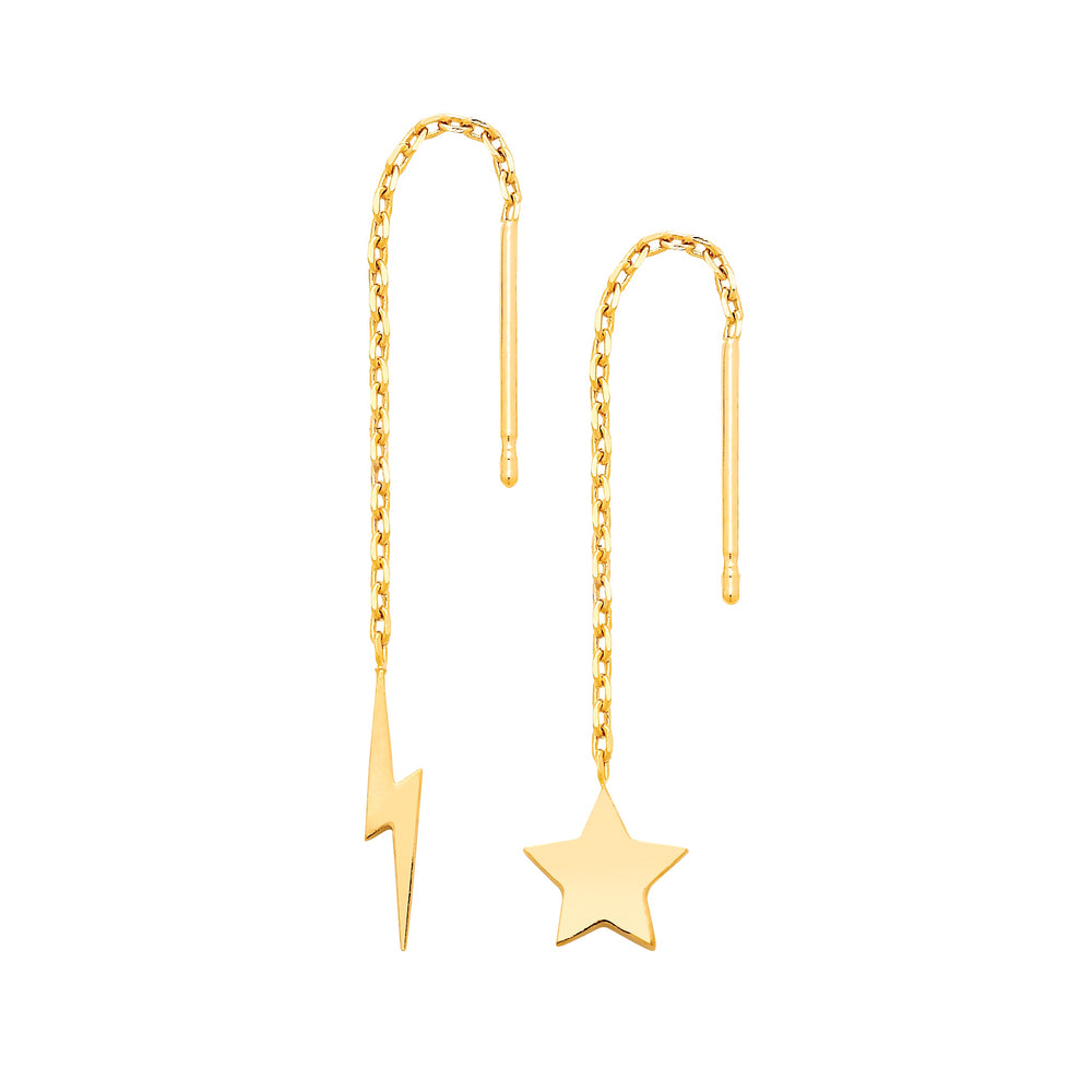 Chain Star and Moon Pendant Earrings