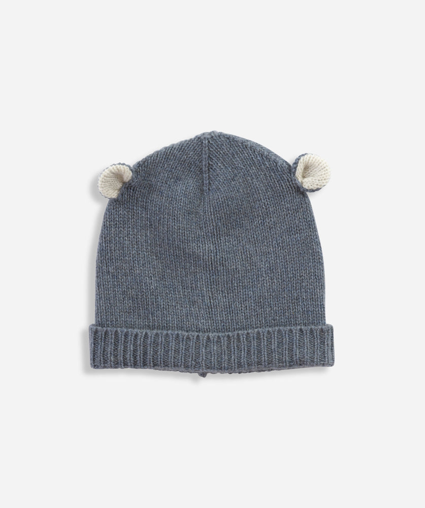 Cashmere Bear Hat - Vintage Blue