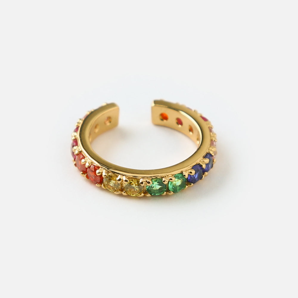 Pave Rainbow Single Ear Cuff