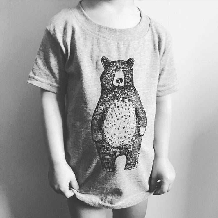 Mr Bear Kids T-Shirt- Grey