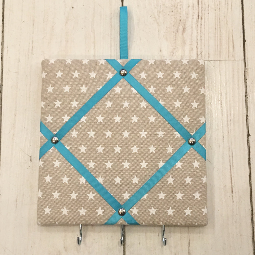 Mini White Star Pin Board with Blue Ribbon and Hooks