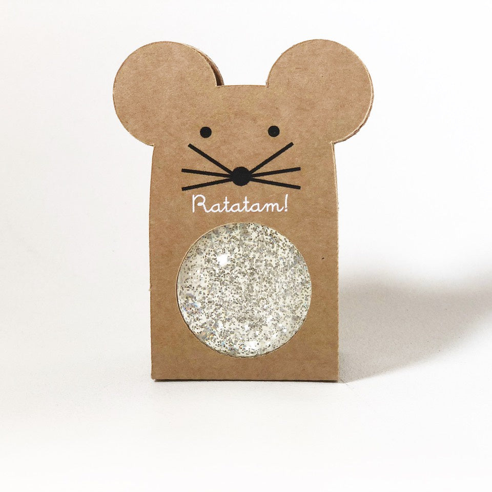 Small Glitter Bouncy Ball - Mouse : Silver