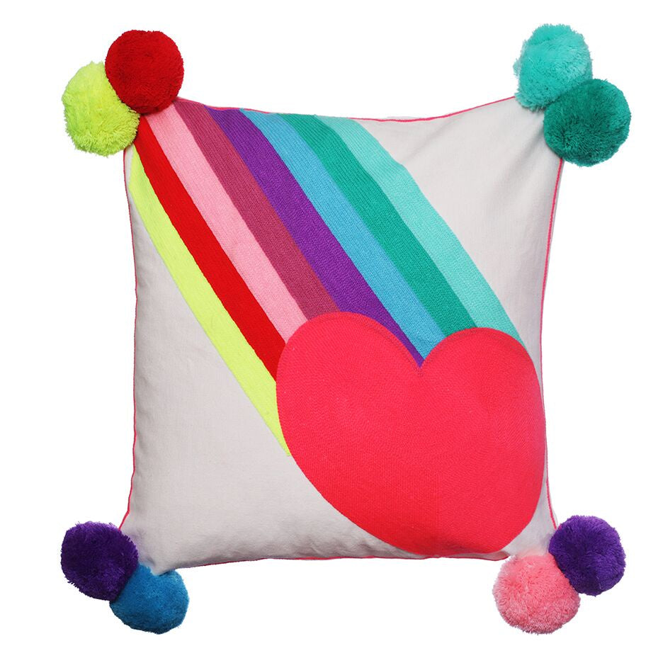 Rainbow Burst Heart Cushion