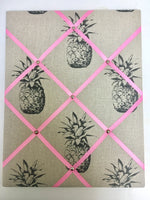 Medium Pineapple Pin Board with Pink Ribbon