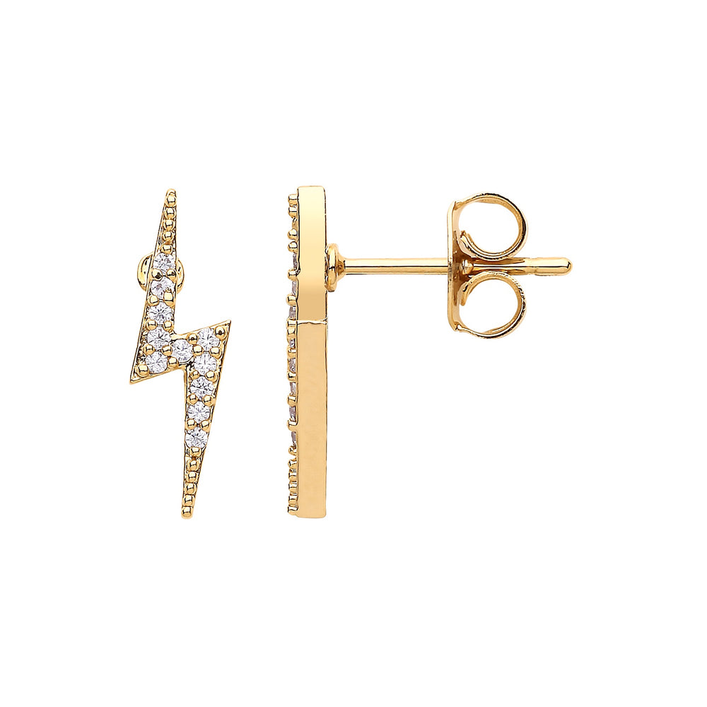 Lightning Bolt CZ Earrings GP