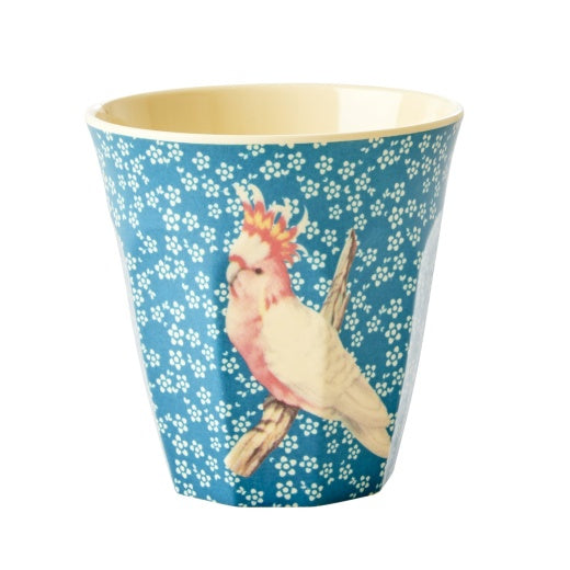 Melamine Medium Cup with Vintage Bird Print Blue