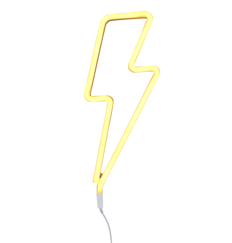 Neon Yellow Lightning Bolt Light