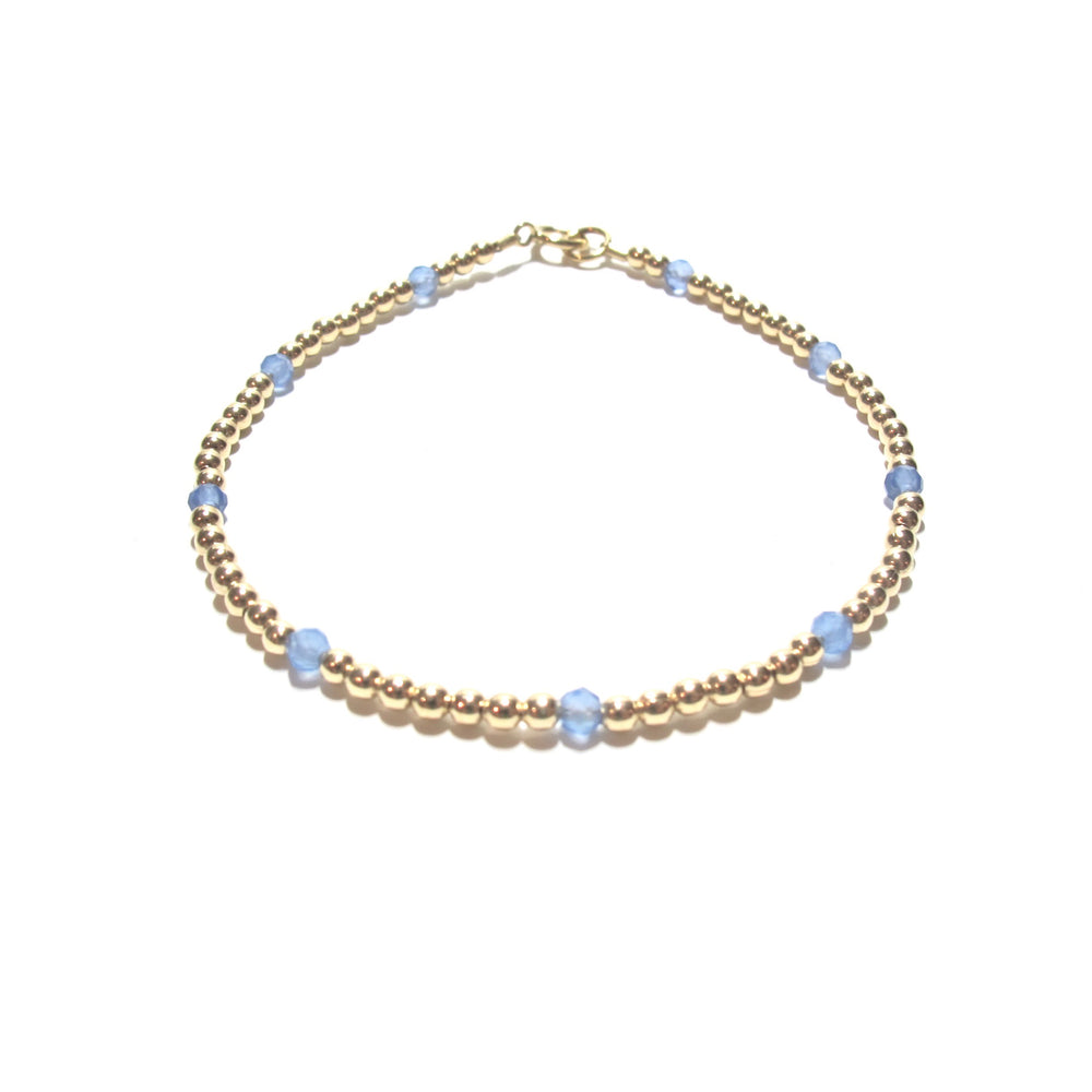 Gold Beads & Dotted Chalcedony