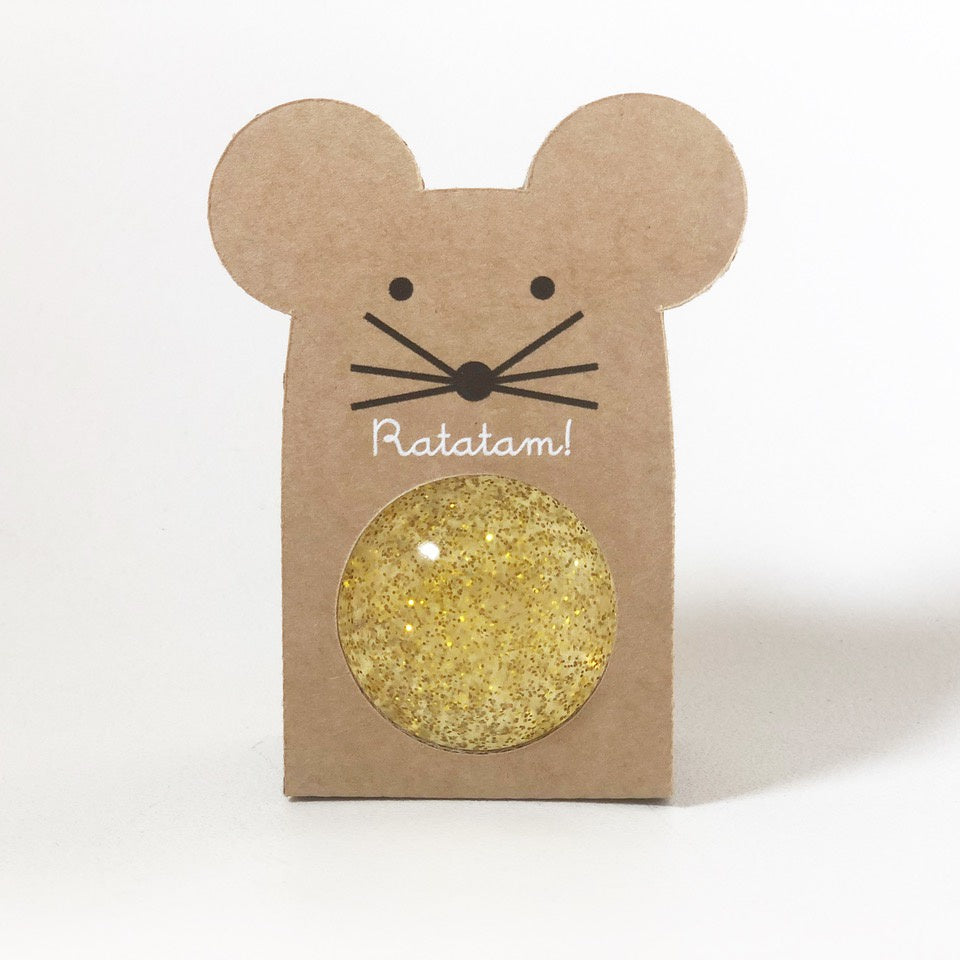 Small Glitter Bouncy Ball - Mouse : Gold