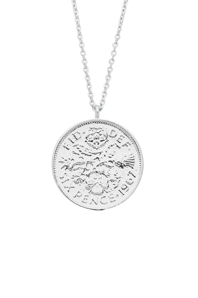 Lucky 6 Pence Necklace Silver Plated