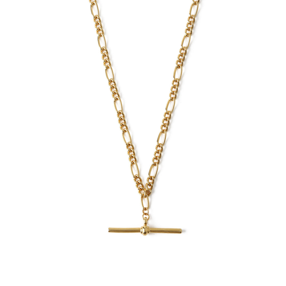 T-Bar Short Necklace-Gold