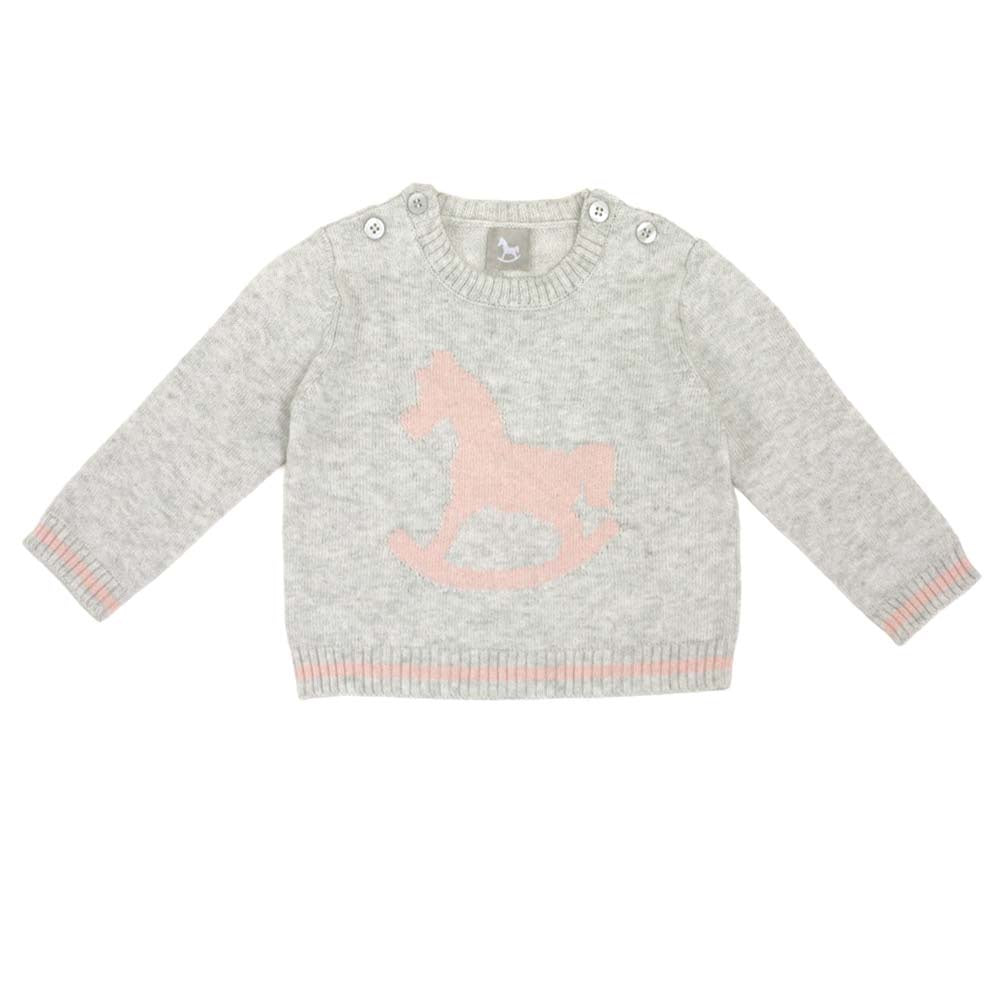 Rocking Horse Jumper - Soft Grey/Pink