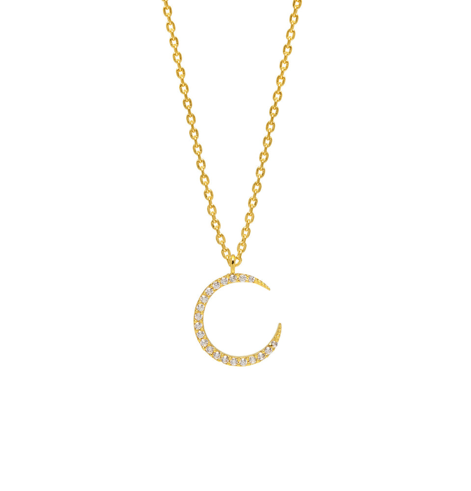 Gold Moon Necklace-Gold