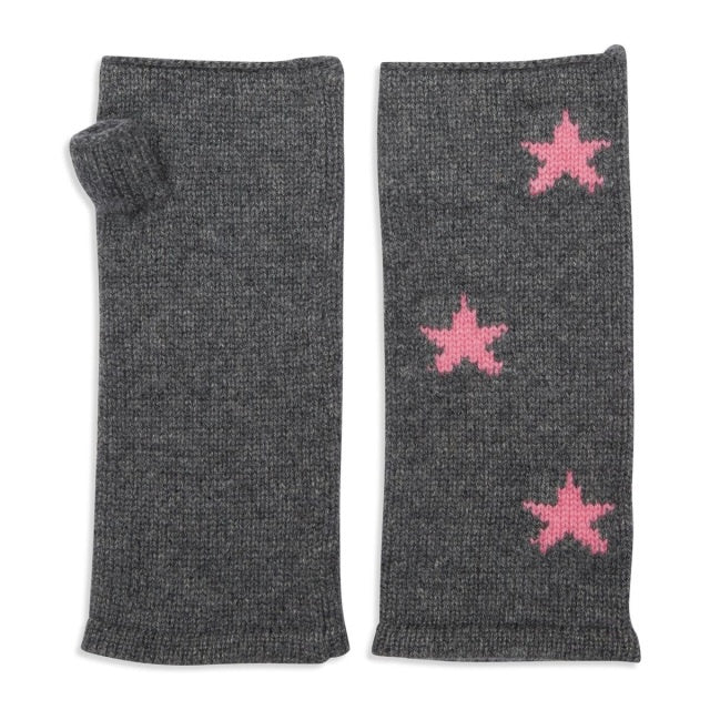 Grey and Pink Star Wristwarmer
