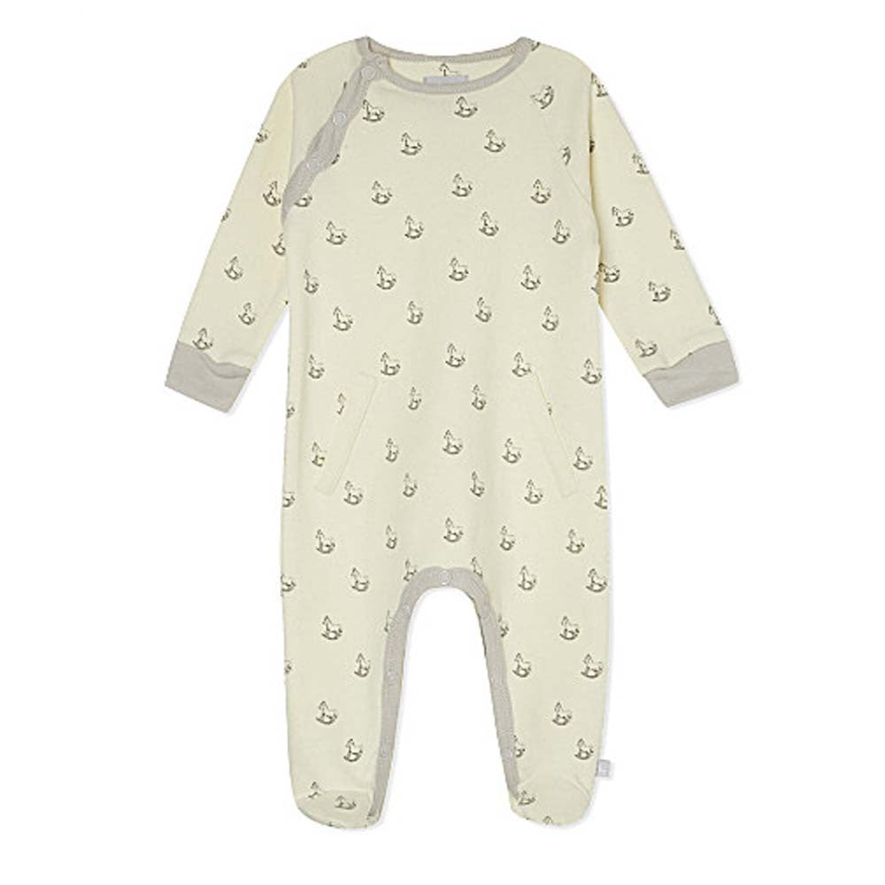 Cream Rocking Horse Print Sleepsuit