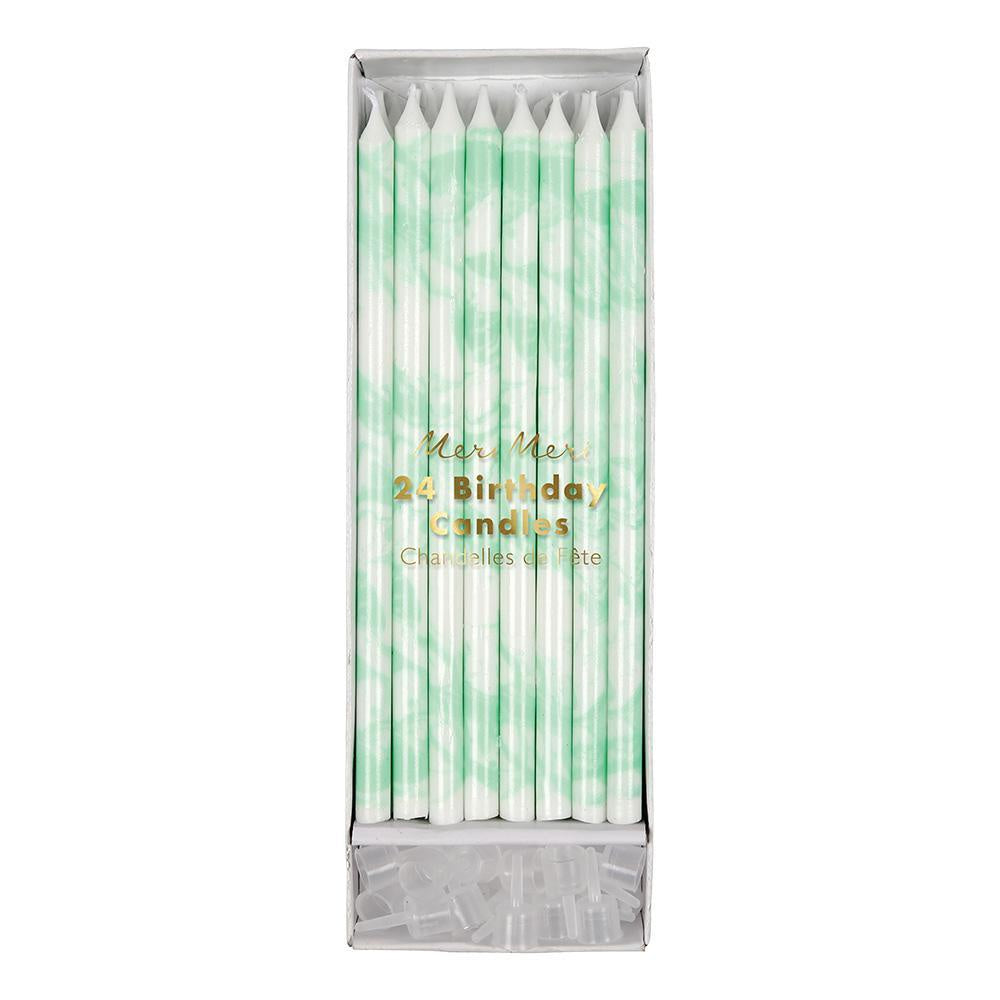 Mint Marble Birtday Candles