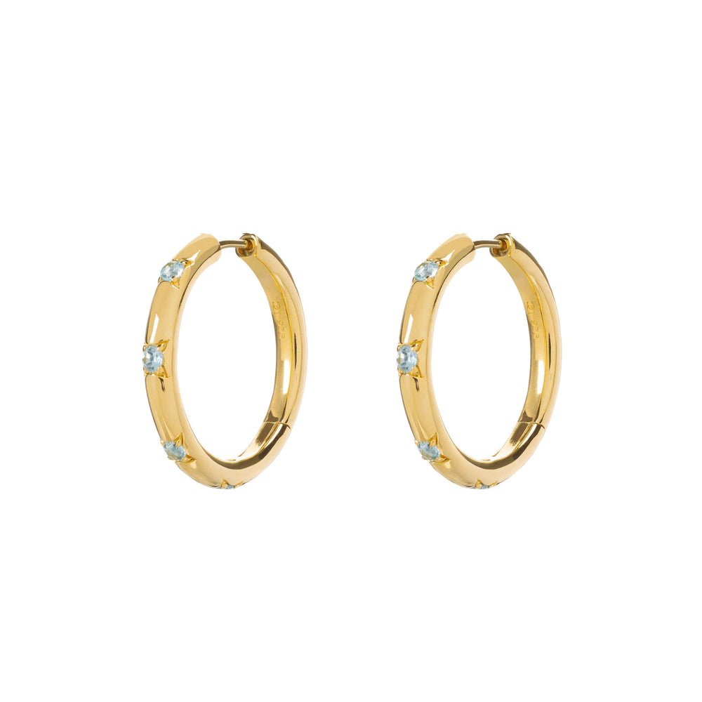 Large Blue Topaz Cosma Hoops