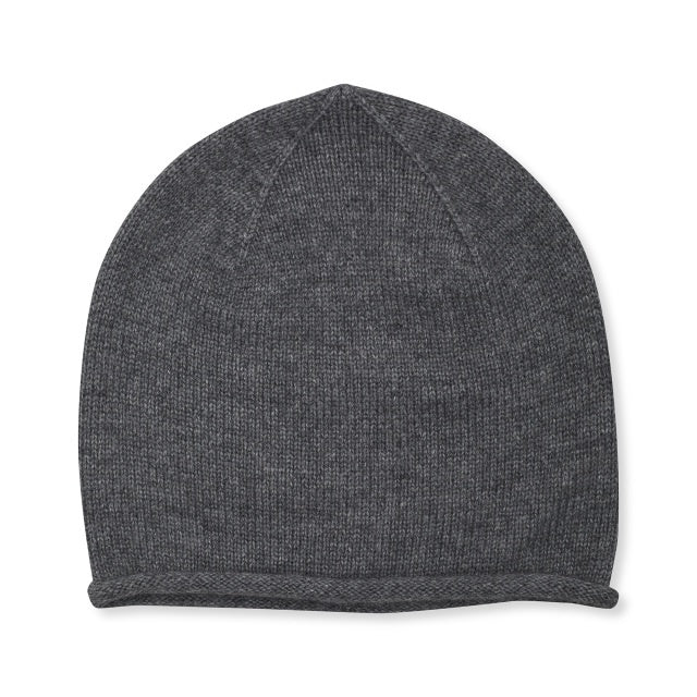 Cashmere Plain Knit Hat- Grey